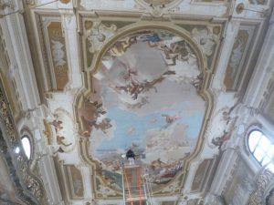 Tiepolo fresco under restoration, ballroom of Villa Pisani.